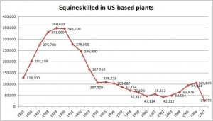Horses killed in US slaughter plants 1985 to 2007