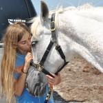 Lauren kissing Feather