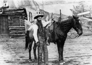 Local favorite Doc Middleton of Chadron with his horse at the finish of the Chadron- to-Chicago Cowboy Race in 1893. Middleton, a former outlaw and horse thief who is said to have stolen 2,000 horses during a two-year period, was out of the race by the time it hit Sioux City, Iowa.