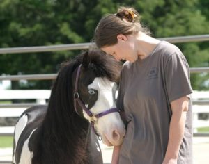 "Janine Lindgreen, APRN, and colleagues recently completed a pioneering research pilot study exploring how horses can help teaching humans about leadership. Here, Lindgreen connects with ""Domino."" Photo: University of Kentucky's College of Agriculture"