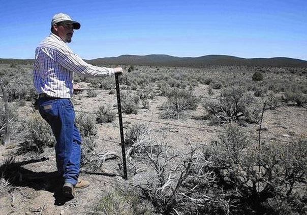 Cattle rancher Jeremy Hunt looks out over land, at a barbed wire fence in the Nephi Wash area outside Enterprise, Utah (JIM URQUHART, REUTERS / April 12, 2014)