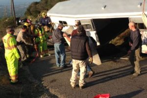 A lawsuit has been filed by the owner of seven champion horses killed or seriously injured in this crash in March on San Marcos Road near Santa Barbara. (Paul Mihalec / KEYT News photo)