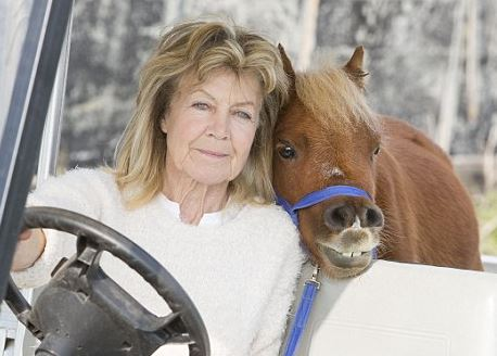 Acer the dwarf horse with owner Maureen