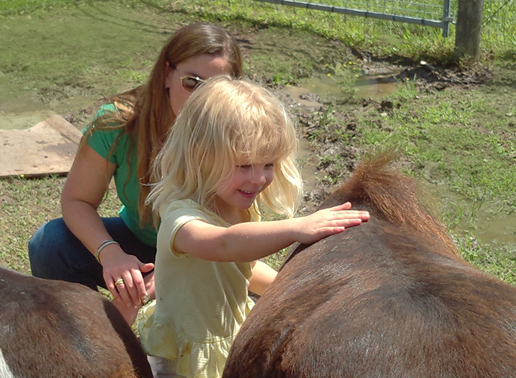 The little ones loved petting and grooming the minis.